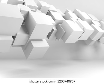 Abstract white digital background with  flying cubes installation in empty room interior. 3d illustration