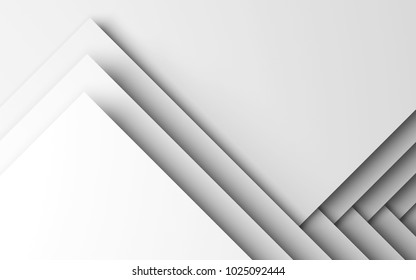 Abstract white digital background, geometric pattern of corners. 3d render
