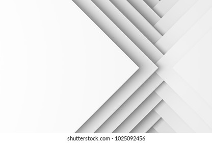 Abstract white digital background, geometric pattern of square paper sheets. 3d illustration