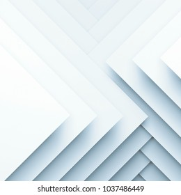 Abstract white digital background, geometric pattern of square paper layers. 3d illustration