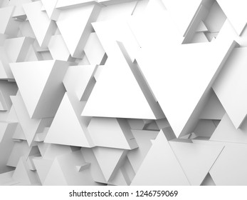 Abstract white digital background with random extruded triangles on wall, 3d render illustration