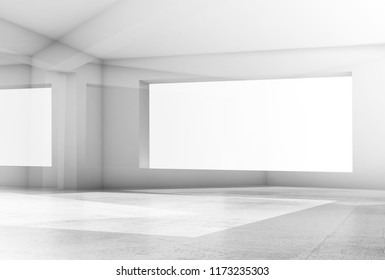 Abstract white digital background with shining intersected structures, 3d render illustration, double exposure effect