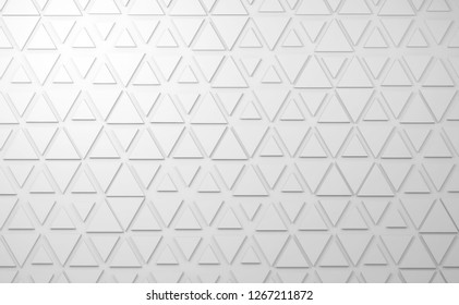 Abstract white digital background with triangles relief pattern on wall, 3d render illustration