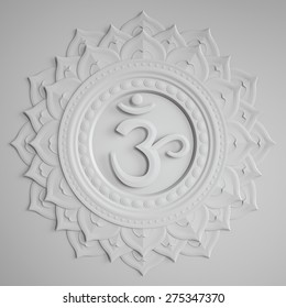 abstract white embossed paper Sahasrara chakra symbol, 3d modern illustration
