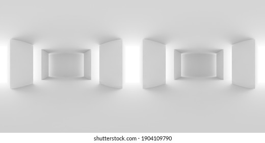 Abstract white empty white hall with white floor, ceiling and columns HDRI environment map, white colorless 360 degrees spherical panorama background, 3d illustration