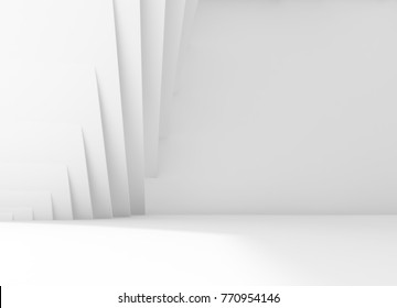 Abstract white empty interior background with striped wall decoration. 3d illustration