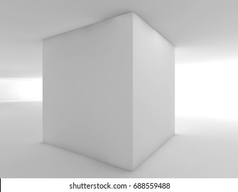 Abstract white empty interior, contemporary open space design. 3d illustration