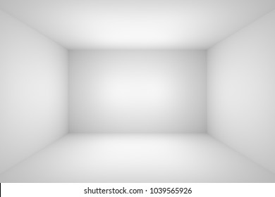 Abstract white empty room with white wall, floor, ceiling without any textures, colorless 3d illustration