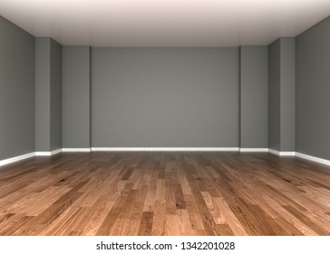 Abstract white empty room with white wall, floor, ceiling without any textures, dark side, colorless 3d illustration