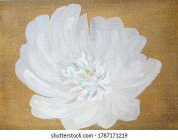 Abstract white flower painted with oil paints