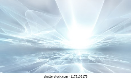 abstract white futuristic background with fractal shining horizon