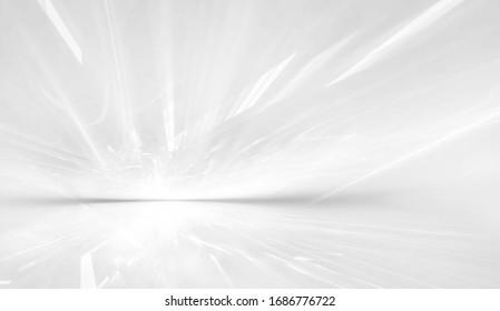 abstrakter weißer futuristischer Hintergrund mit fraktalem Horizont