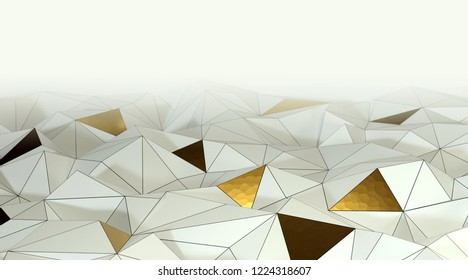 Abstract white and gold 3d background, triangular mesh with lines.