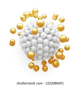 Abstract white and gold particles molecular structure on white background. 3D render.