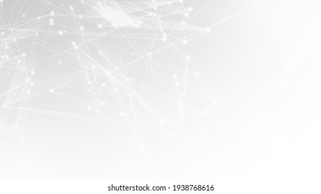 Abstract white gray polygon tech network with connect technology background. Abstract dots and lines texture background. 3d rendering.