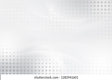 Abstract white and grey wave for layout web design background with halftone effect.