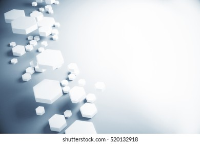 Abstract white honeycomb pattern on grey background with copy space. 3D Rendering