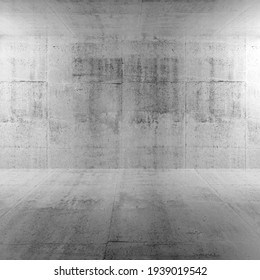 Abstract white interior background of empty room with concrete wall and floor, square 3d rendering illustration