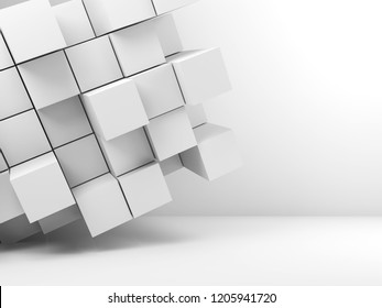 Abstract white interior background with  random extruded cubes installation in empty room. 3d illustration