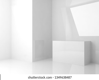 Abstract white interior background, room with shiny walls and cubes installation, 3d render illustration