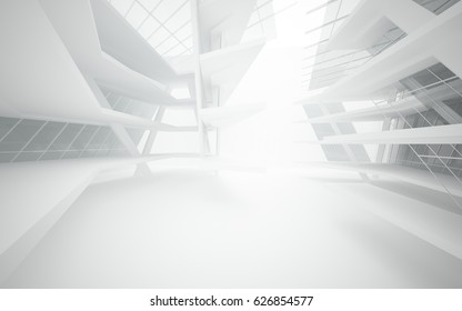 Abstract white interior of the future with glass. 3D illustration and rendering