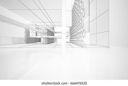 Architectural Sketch Idea 3 D Perspective Vector Stock