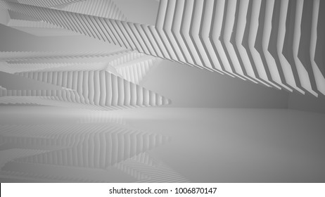 Abstract white interior with neon lighting. 3D illustration and rendering.