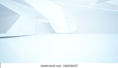 Abstract white interior with window. 3D illustration and rendering.