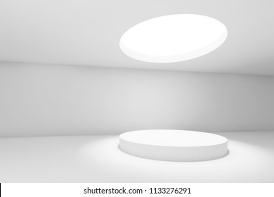 Abstract white minimal interior background, showroom with round ceiling light and table. 3d render illustration
