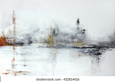 abstract white oil painting