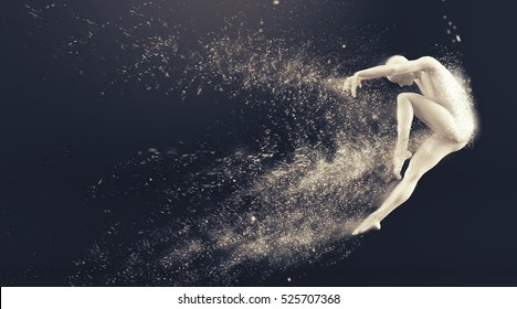 Abstract white plastic human body mannequin figure with scattering particles over black background. Action dance jump ballet pose. 3D rendering illustration
