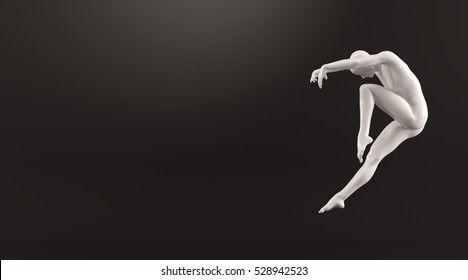 Abstract white plastic human body mannequin figure over black background. Action dance jump ballet pose. 3D rendering illustration