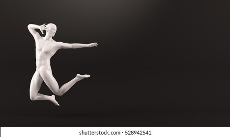 Abstract white plastic human body mannequin figure over black background. Action jumping pose. 3D rendering illustration