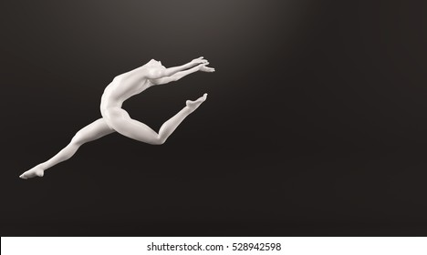 Abstract white plastic human body mannequin figure over black background. Action running and jumping ballet pose. 3D rendering illustration