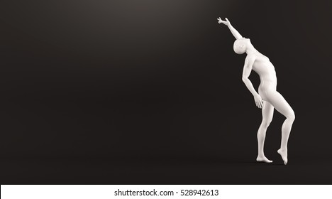 Abstract white plastic human body mannequin figure over black background. Action dance pose. 3D rendering illustration