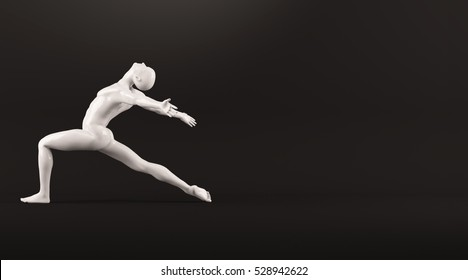 Abstract white plastic human body mannequin figure over black background. Action dance ballet pose. 3D rendering illustration
