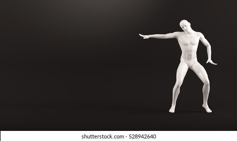 Abstract white plastic human body mannequin figure over black background. Action break dance electric pose. 3D rendering illustration