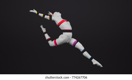Abstract white plastic human body mannequin with colorful sliced body parts over black background. Action dance ballet pose. 3D rendering illustration