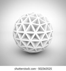 Abstract White Poligon Sphere Object. 3d Render Illustration