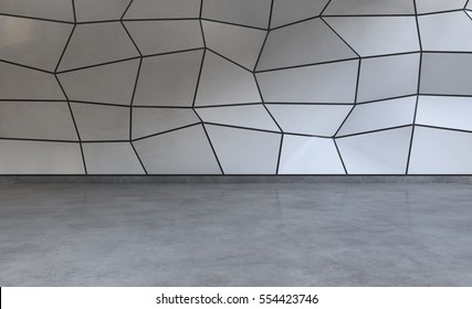 Abstract white polygonal background with concrete floor. Modern future concept. 3D Render.