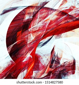 Abstract white and red color motion composition. Modern futuristic dynamic background. Fractal artwork for creative graphic design