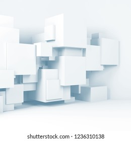 Abstract white room interior background with  cubes installation. Light blue toned 3d render illustration