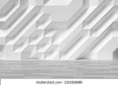 Abstract white room wall with futuristic bumpy polygonal geometric surface and wooden white parquet floor 3d illustration