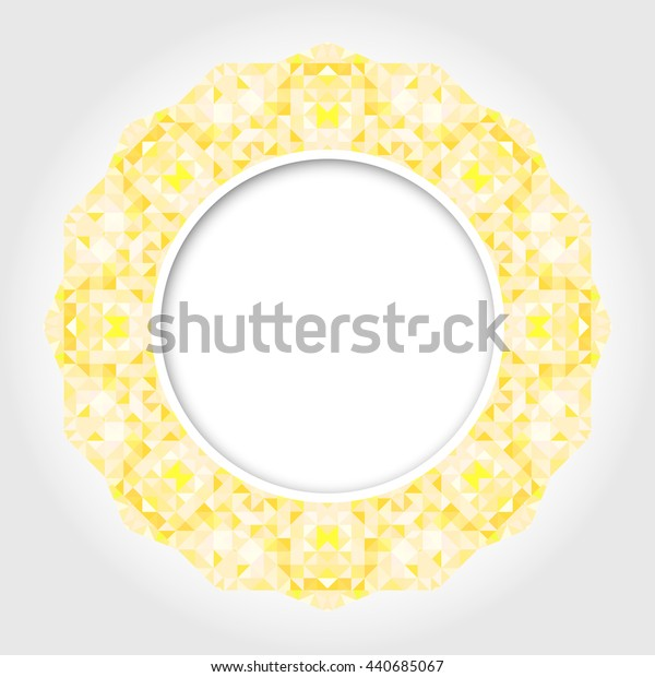 Abstract White Round Frame with Yellow Digital Border
