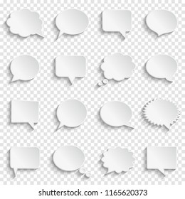 Abstract white speech bubbles set on checkered background