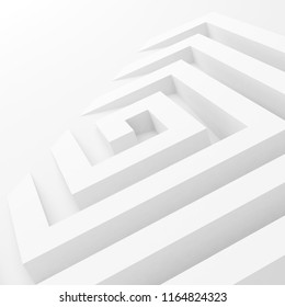 Abstract white square spiral perspective, 3d render illustration