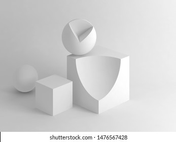 Abstract white still life installation with primitive sliced geometric shapes. Subtract Boolean operation illustration. 3d rendering illustration