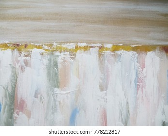 Abstract white texture painting background. Painting on canvas. Modern art. Contemporary art