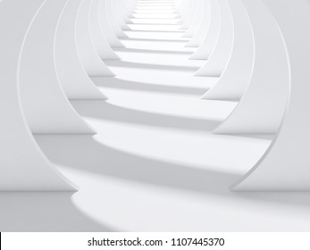 Abstract white tunnel interior with perspective effect and shadows pattern on floor. 3d render illustration