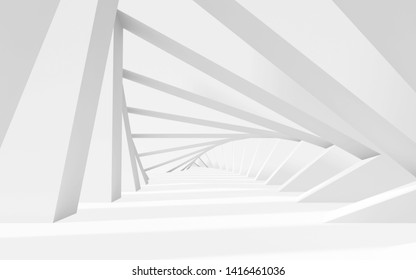 Abstract white twisted tunnel background perspective. 3d render illustration